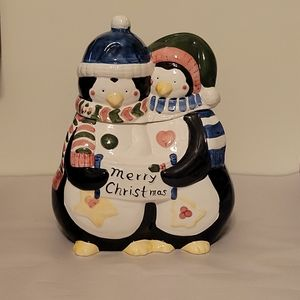 Penguin Christmas Cookie Jar